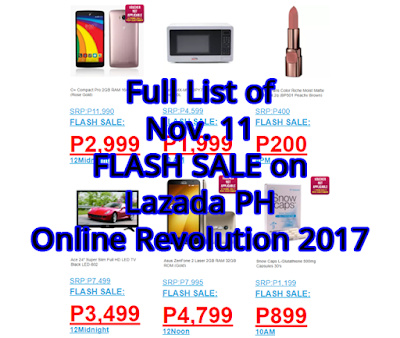 Full List of Nov. 11 FLASH SALE on Lazada PH Online Revolution 2017 ... 2636b283f3