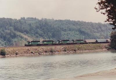 Burlington Northern SD40-2s at Longview, Washington, in 1992