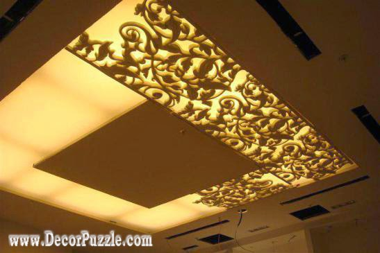 modern pop false ceiling design with backlight, plasterboard ceiling ideas 2018