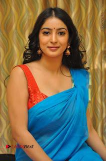 Telugu Actress Vaibhavi Stills in Blue Saree at Www.Meena Bazaar Movie Opening  0070.JPG
