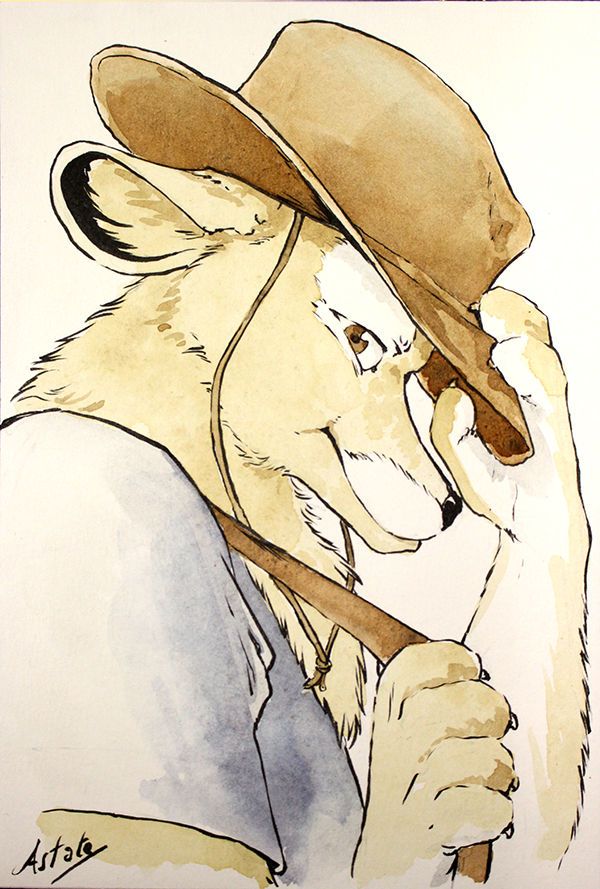 Portrait furry - dessin de commission à l'aquarelle