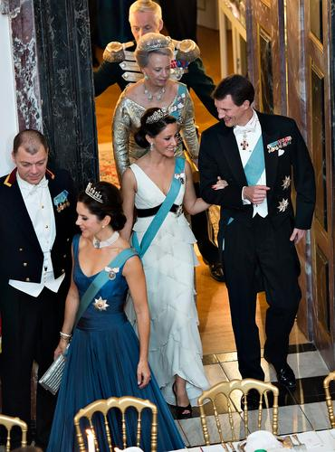Crown Prince Frederik and Crown Princess Mary, Prince Joachim and Princess Marie attended a State dinner at Fredensborg Palace
