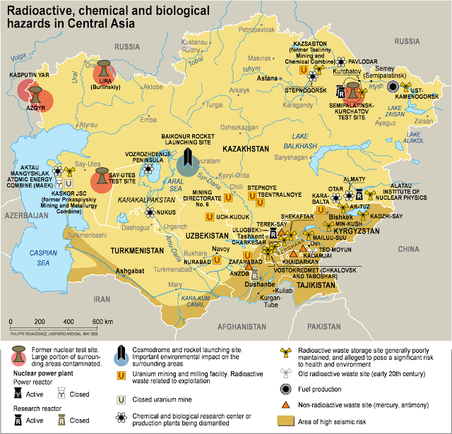 Map Attribute: Radioactive, Chemical and Biological Hazards in Central Asia (2006),  Philippe Rekacewicz, UNEP/GRID-Arendal. www.grida.no