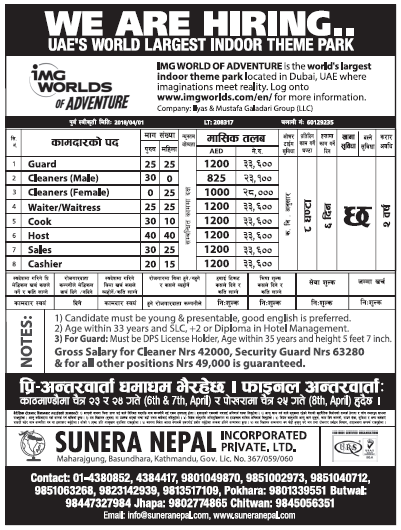 Jobs in Dubai for Nepali, Salary Rs 33,600