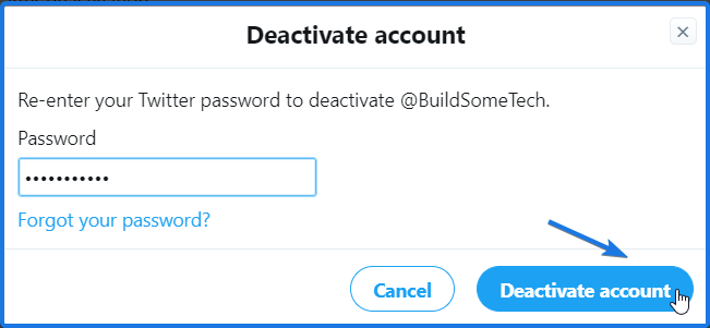 Deactivate twitter account
