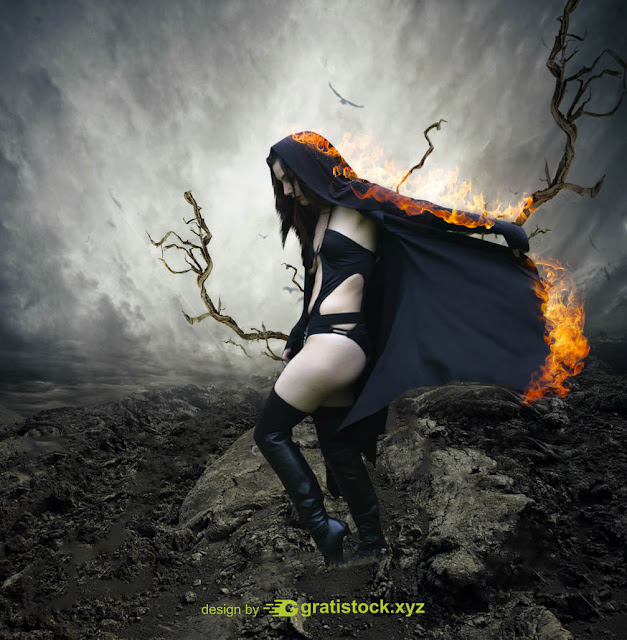 Free Download PSD Mockup - Manipulation Girl OF Fire