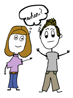 A boy and girl stick figure wondering when something will happen.