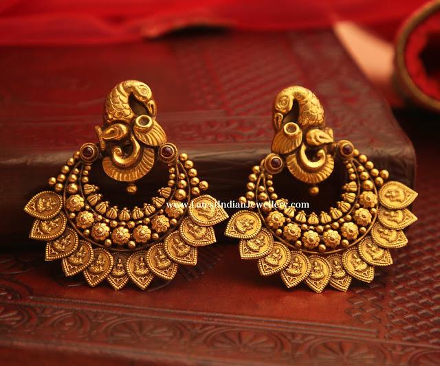 Peacock Lakshmi Motif Chandbalis