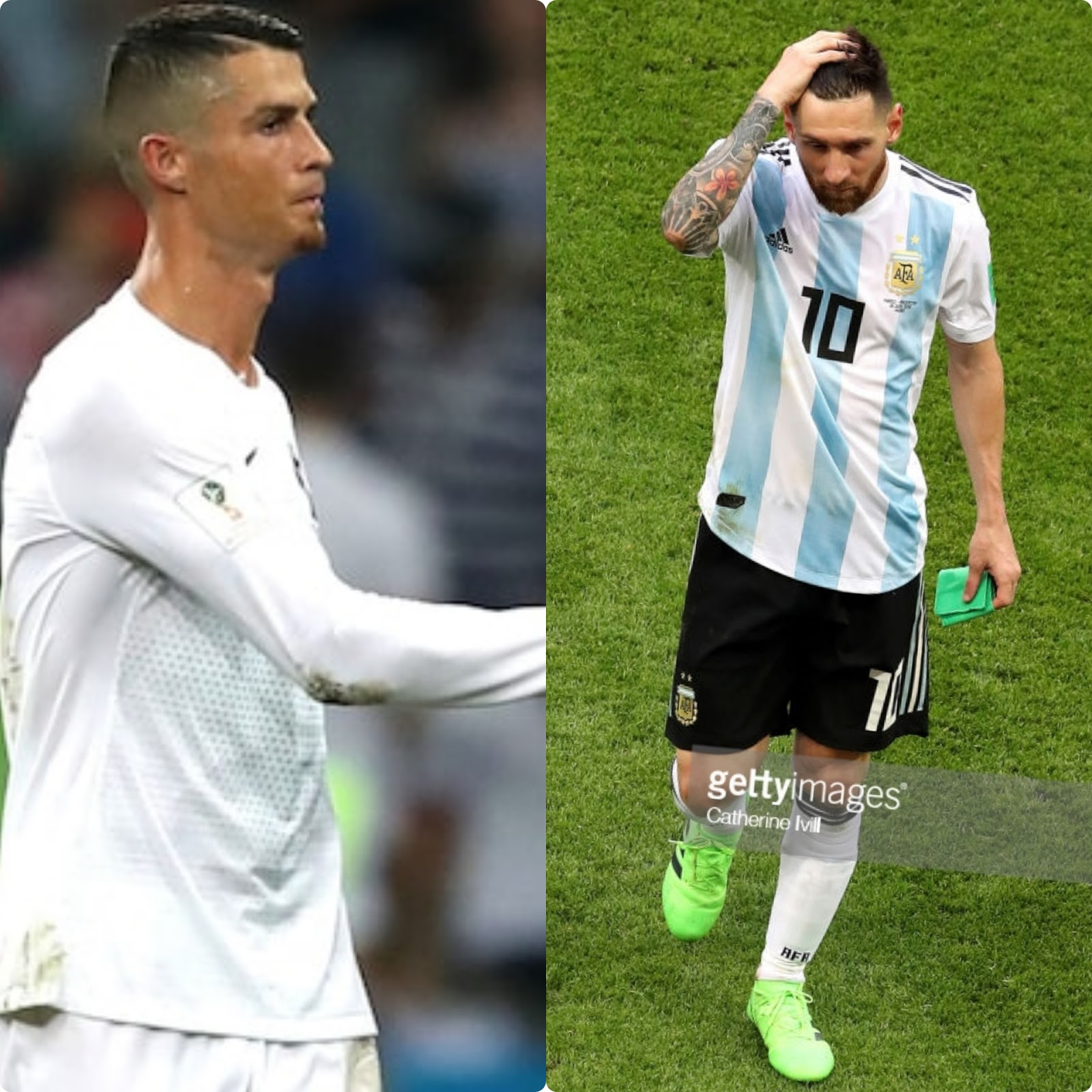 Messi and Ronaldo looking dejected