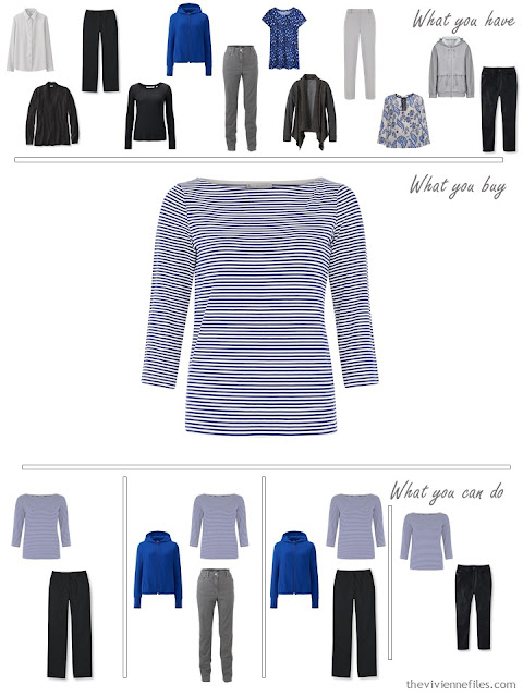 How to Build a Capsule Wardrobe in a Cobalt, Black and Grey color palette