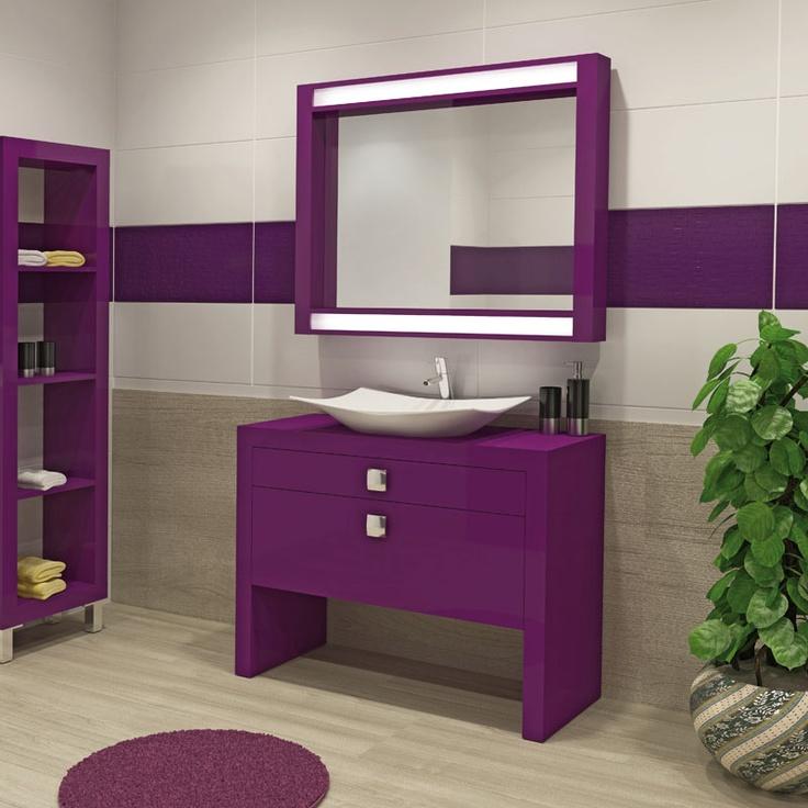 22 Fotos de casas de banho roxo e violeta  Decorao e Ideias