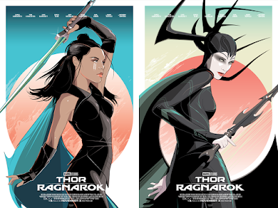 Thor Ragnarok Hela & Valkyrie Movie Poster Screen Prints by Craig Drake x Hero Complex Gallery x Marvel