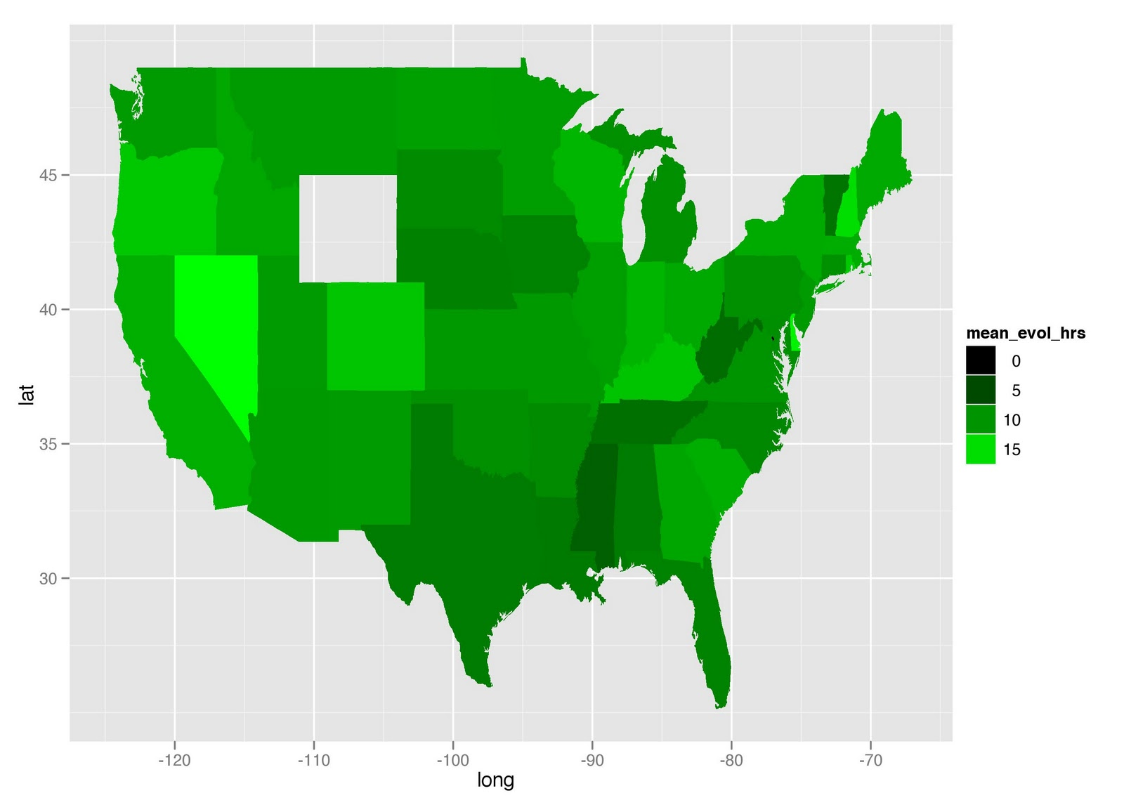 qplot long lat data survey sum map group group fill mean evol hrs geom polygon scale fill gradient low black high green