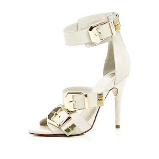 River Island White Chunky Buckle Stiletto Sandals
