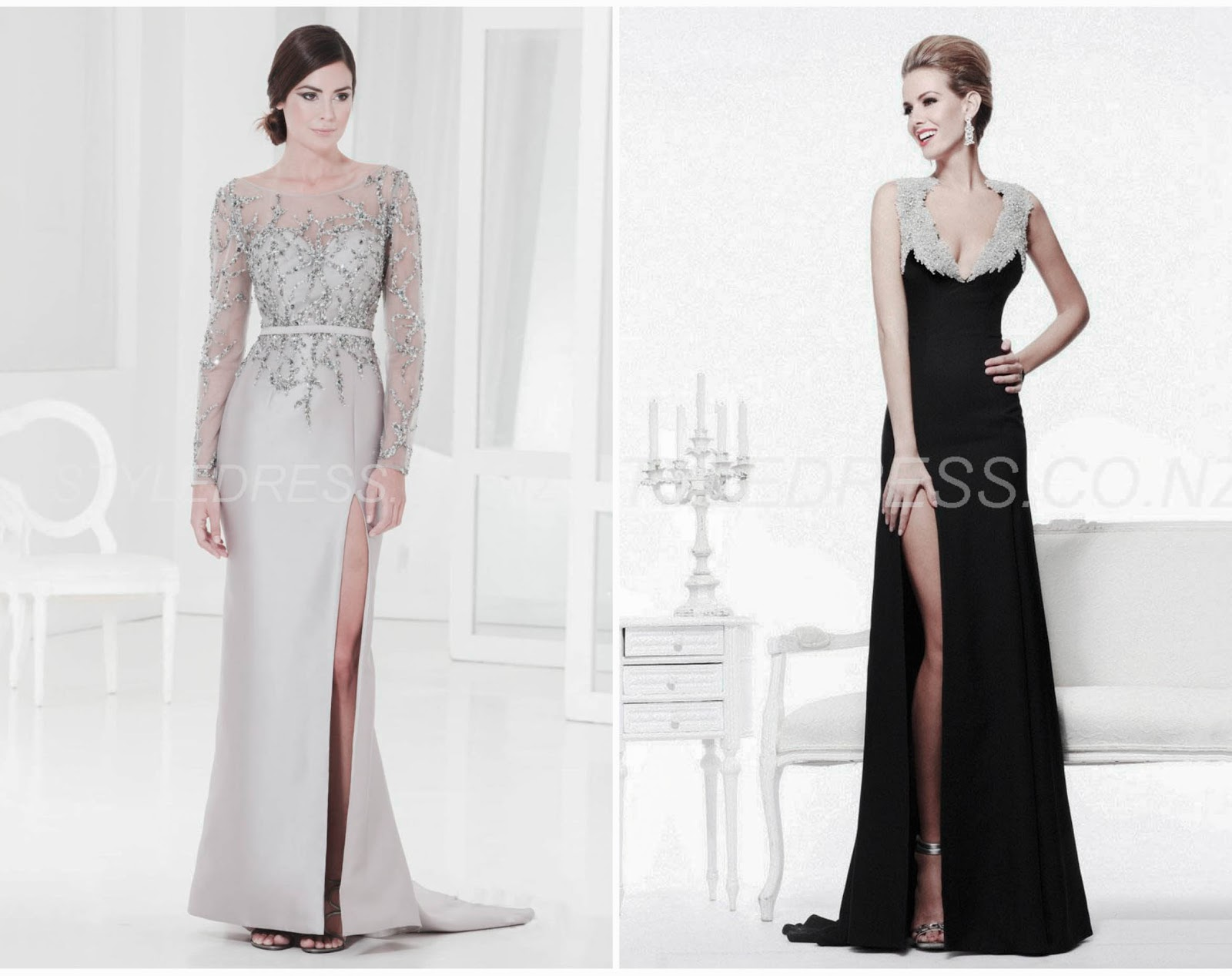 Sheath Floor Length Beading Long Sleeves Evening Glorious Tauranga Dress