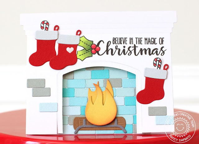 Sunny Studio Stamps: Fireplace Shaped Die Holiday Mantle Scene Card by Nancy Damiano