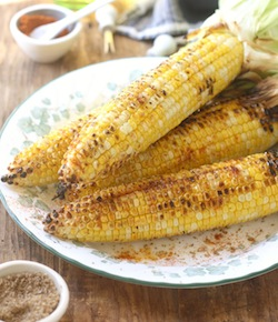 grilled corn with sichuan pepper sea salt seasoning & smoked serrano chili powder