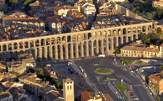 The famous Roman aqueduct at Segovia Spain today.