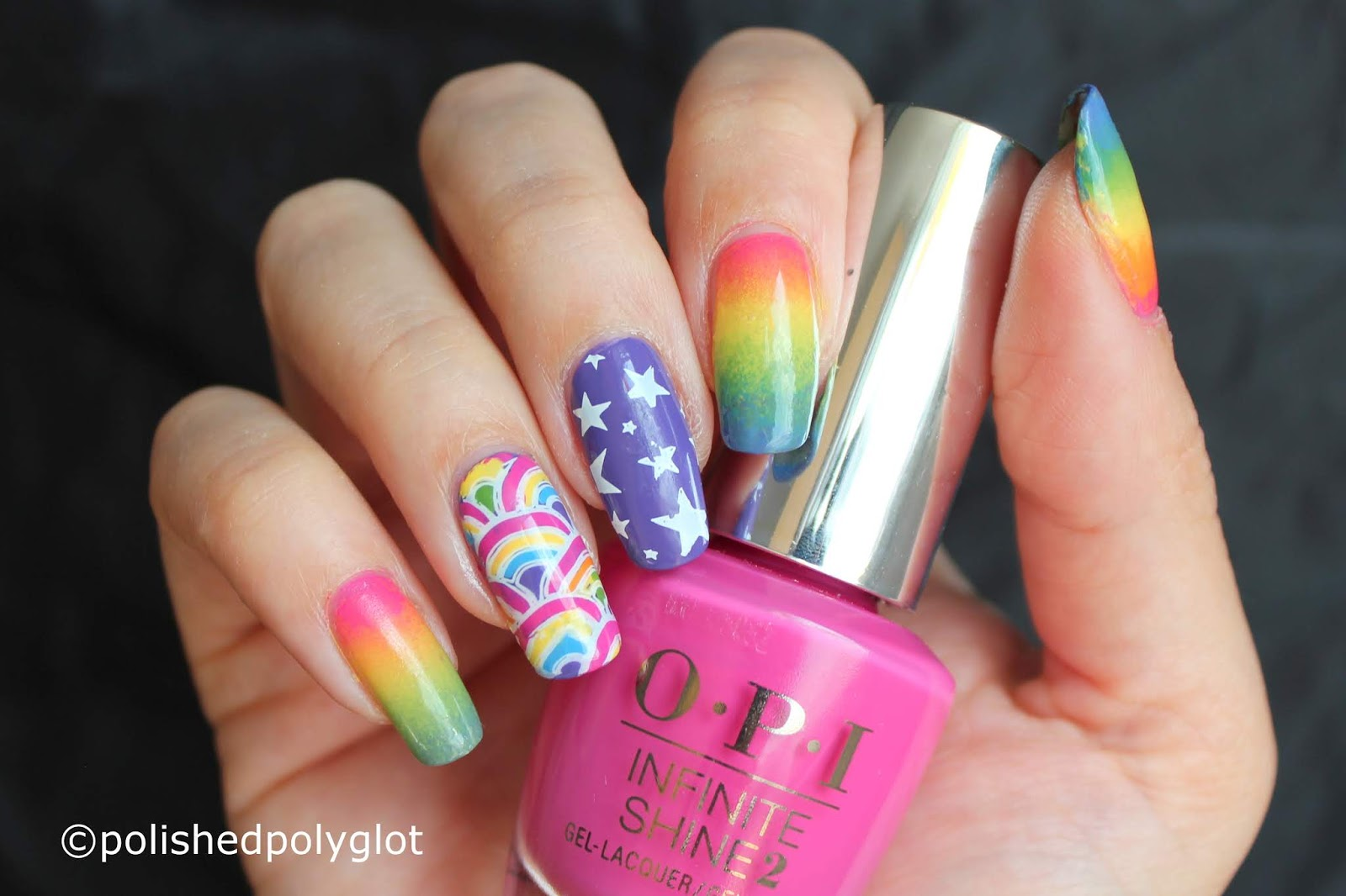 Nail Art │ Rainbow nail art inspired on Lisa Frank\'s work [Nail ...