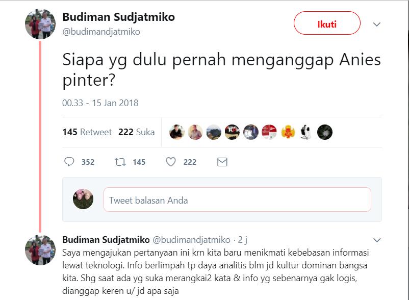 Budiman Sudjatmiko: Siapa yang Pernah Menganggap Anies Pinter, Ini Jawaban Telak Netizen