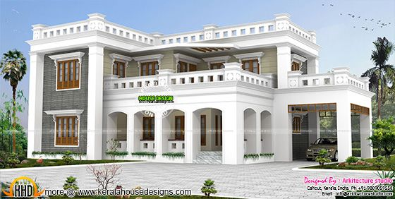 Decorative style flat roof home in Kerala