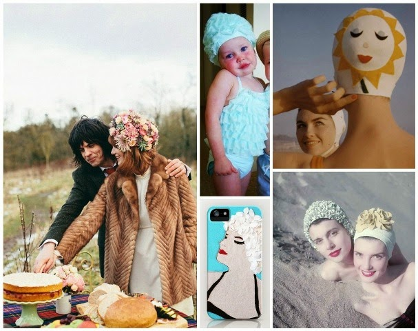 vintage  bathing caps moodboard