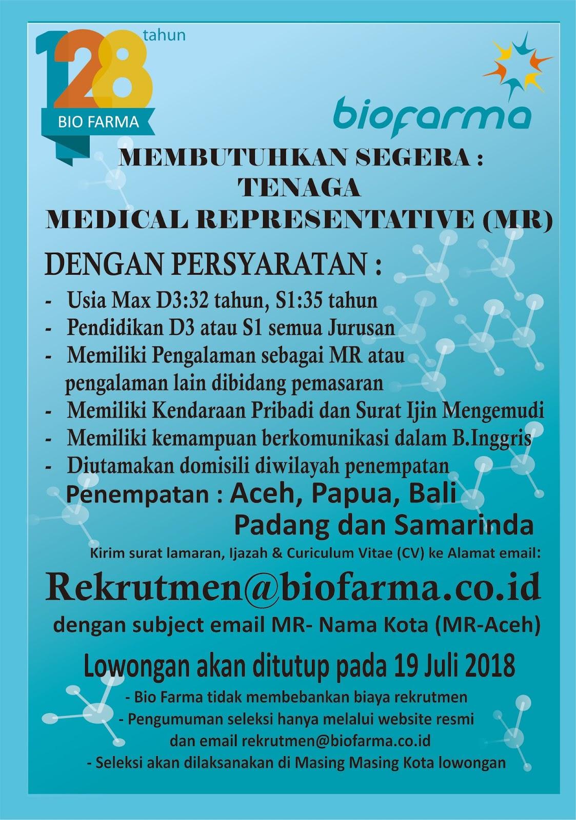 Rekrutmen Lowongan BUMN PT Bio Farma (Persero)