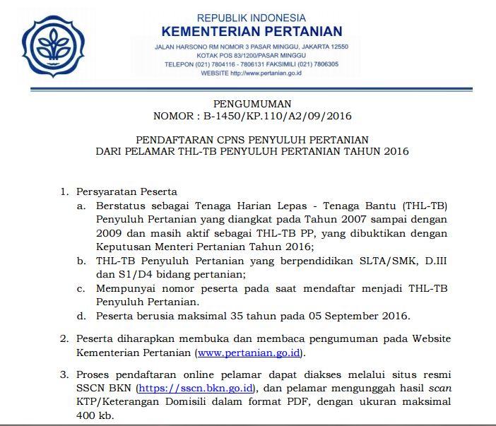 Pengumuman Pendaftaran Cpns Penyuluh Pertanian Kementerian Pertanian