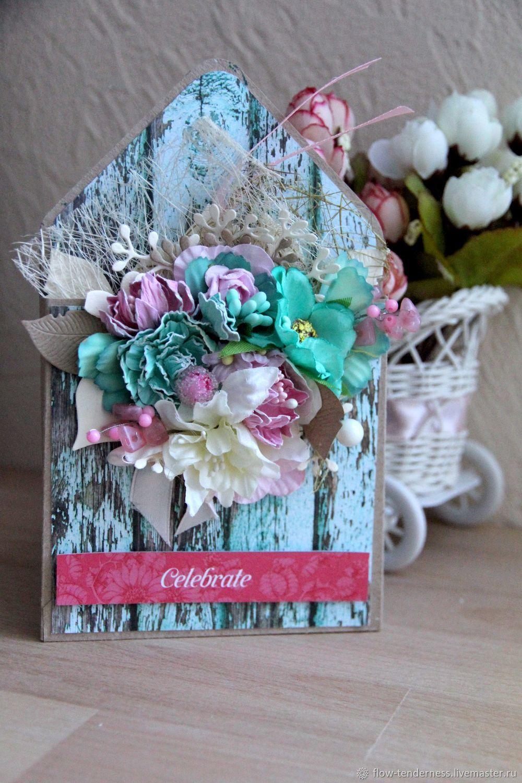 Открытка для букета цветов скрапбукинг