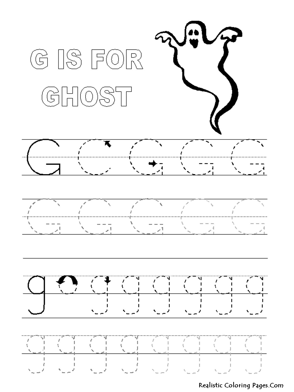 G Letters Alphabet Coloring Pages