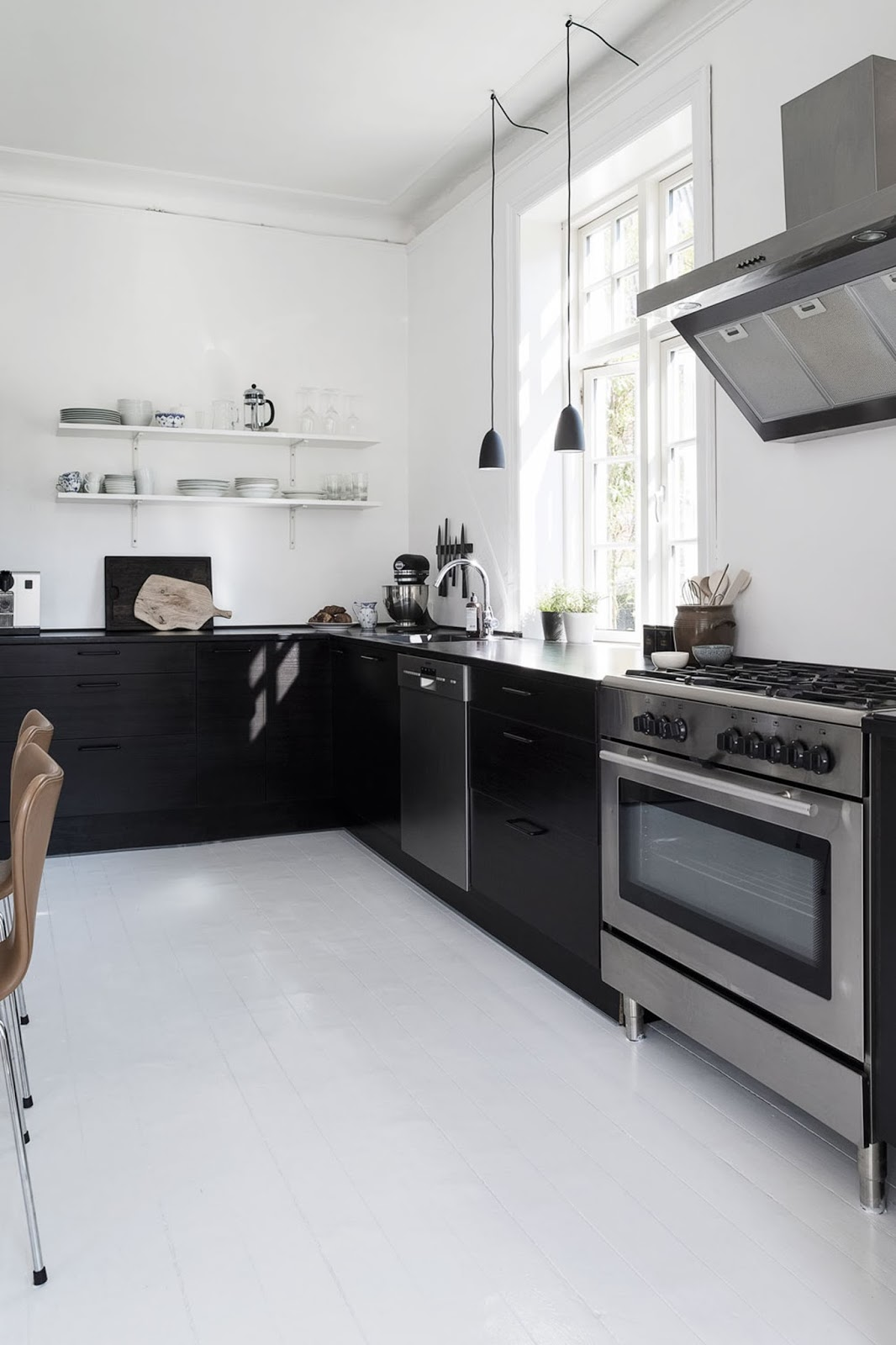 black and white interior design, nordic home, black furniture, white floor, monochrome decor, black kitchen