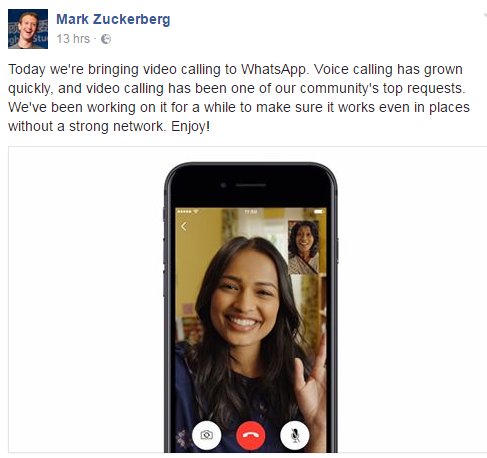 Mark Zuckerberg Announces Whatsapp Video call Feature
