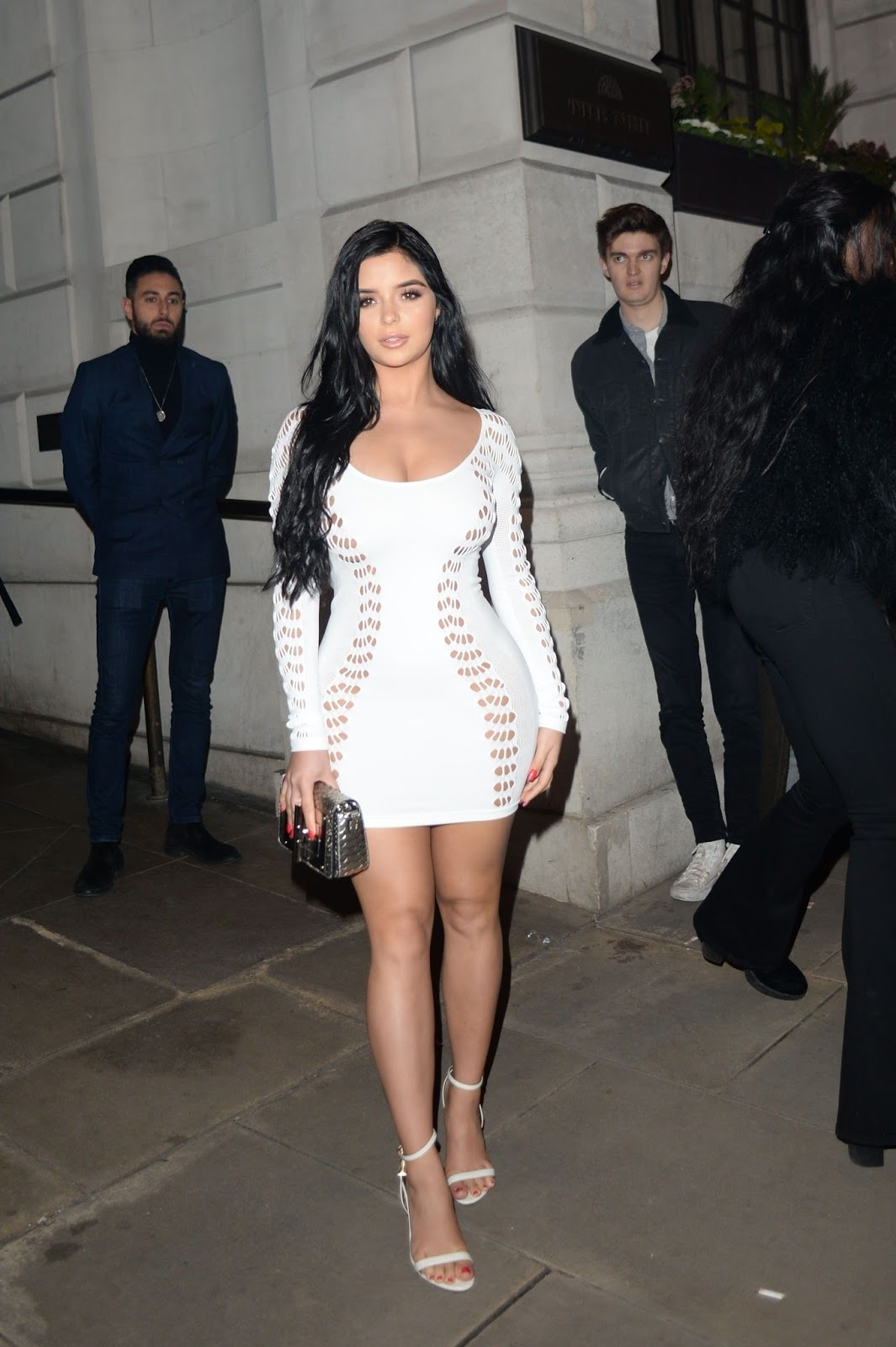 The dress revealed her killer legs and impressive cleavage