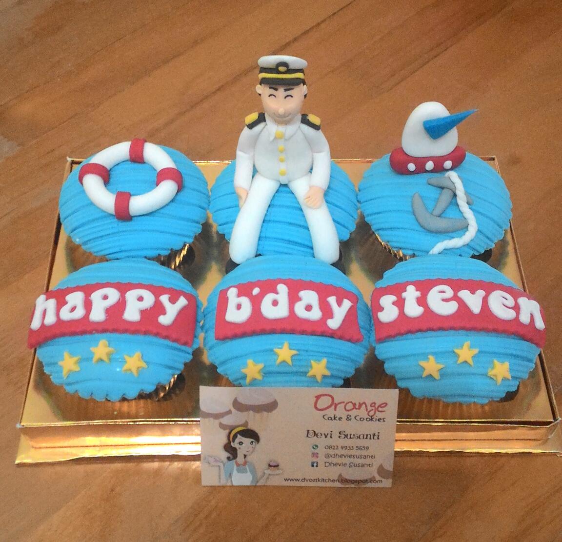 Orange Cake Pelaut Cupcake for Steven