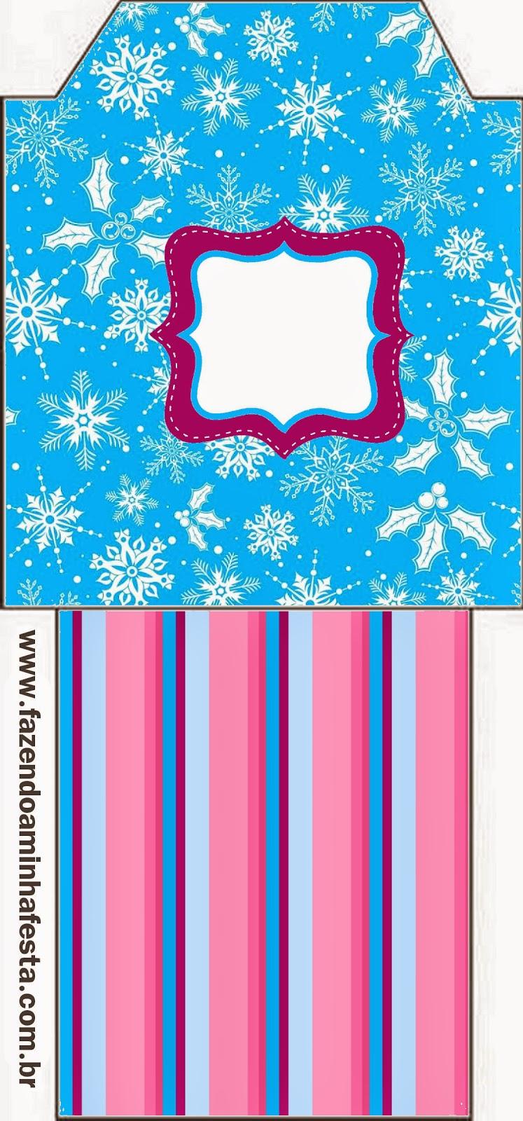 Bolsitas de Té para imprimir gratis de Frozen en Morado y Celeste para Navidad.