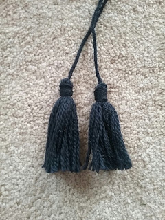 Handmade blue wool tassels for 1860 sontag.