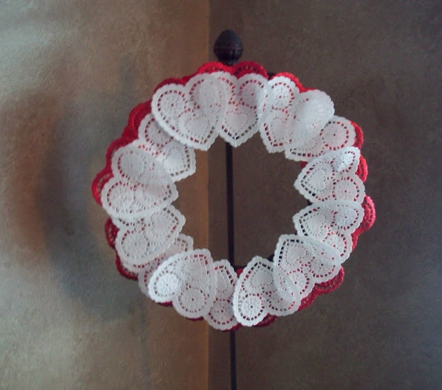 heart wreath doily