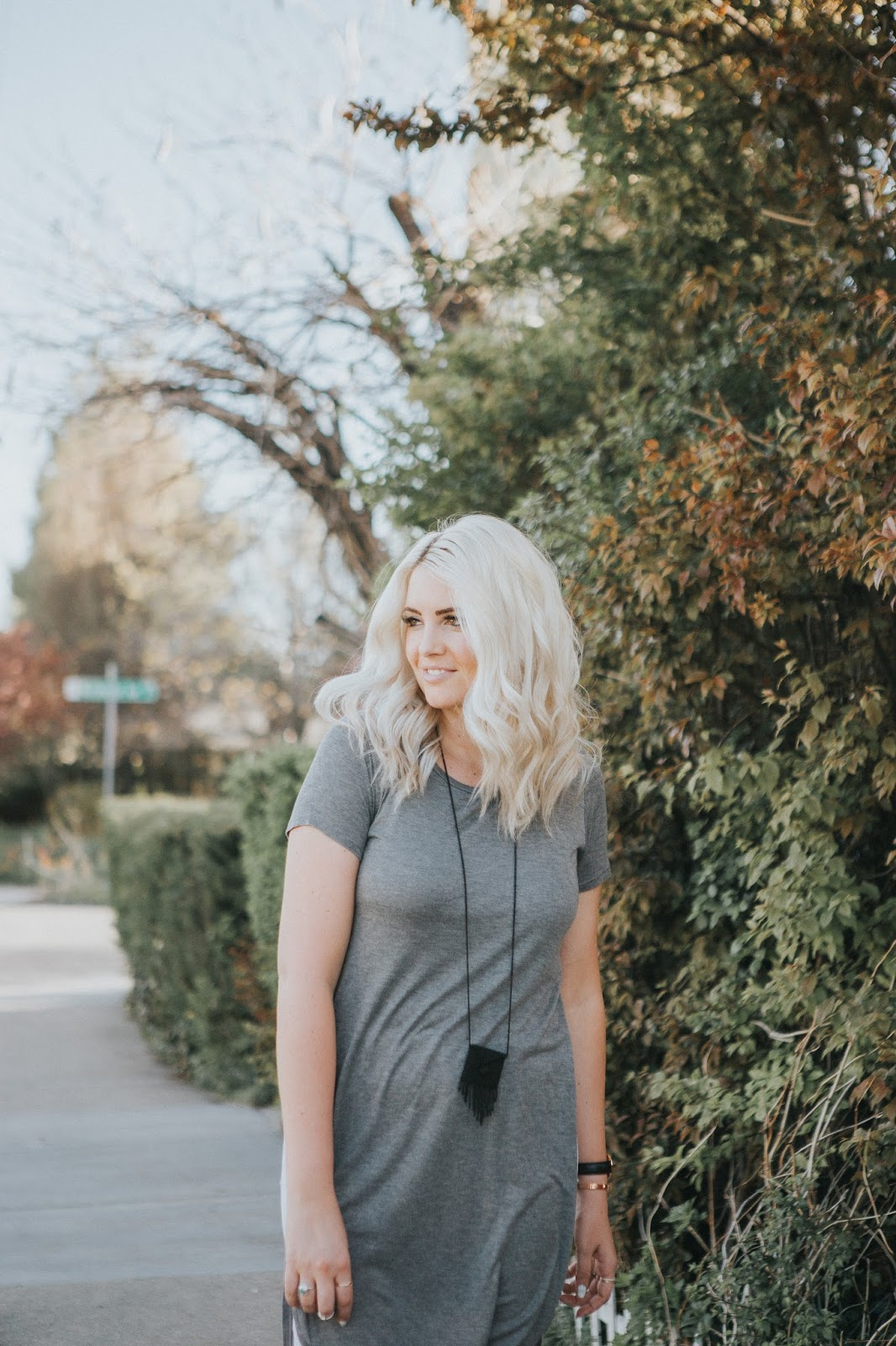 Platinum Hair, Utah Fashion Blogger, Black Fringe Necklace
