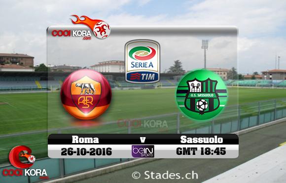 مشاهدة مباراة ساسولو وروما اليوم 26-10-2016 في الدوري الإيطالي