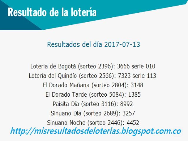 Como jugo la lotería anoche - Resultados diarios de la lotería y el chance -resultados del dia 13-07-2017