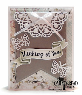 Our Daily Bread Designs Stamp/Die Duos: Wavy Words, Custom Dies:  Doily, Bitty Butterflies, Large Banner, Pierced Rectangles, Paper Collection: Romantic Roses