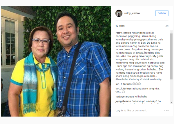 Mistaken Identity: Showbiz Reporter Mistakenly Identified As De Lima's Driver