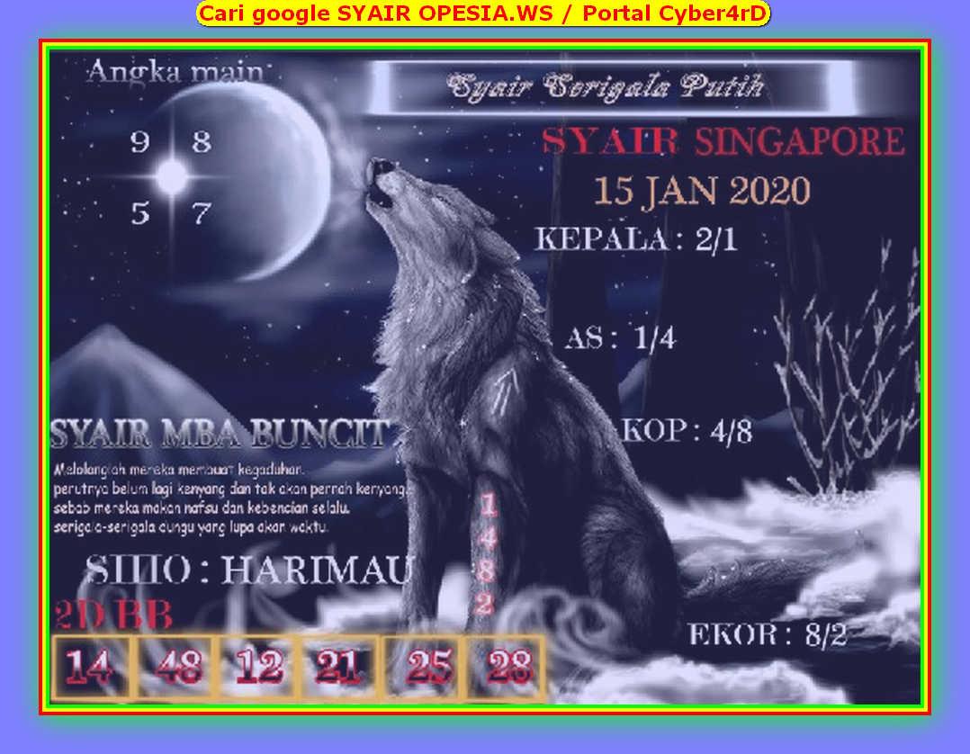 Kode syair Singapore Rabu 15 Januari 2020 135