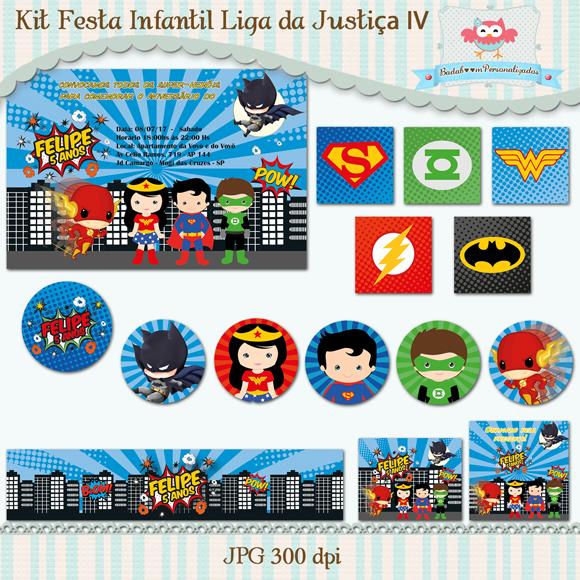 Kit de artes digitais para festa infantil no tema Liga da Justiça