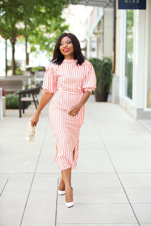 striped midi dress, white pumps, www.jadore-fashion.com