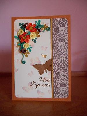 kartka quillingowa z motylem