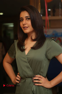 Actress Raashi Khanna Stills in Green Short Dress at Mirchi 95 Suno Aur Mercedes Jeeto Contest  0011.JPG