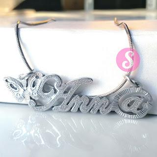 kalung nama monel silver grafir - anna