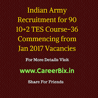 Indian Army Recruitment for 90 10+2 TES Course-36 Commencing from Jan 2017 Vacancies