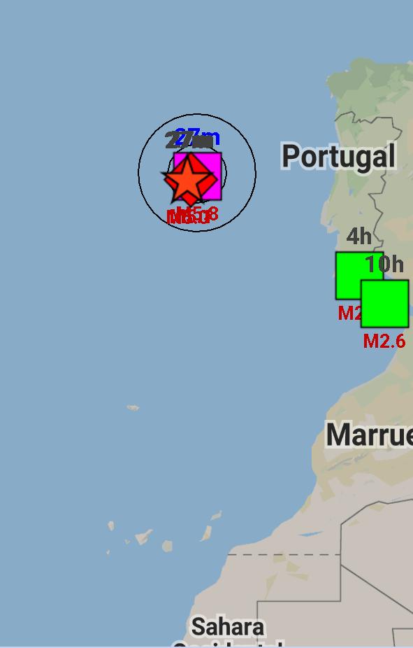 Fuerte sismo cerca de las costas de portugal.